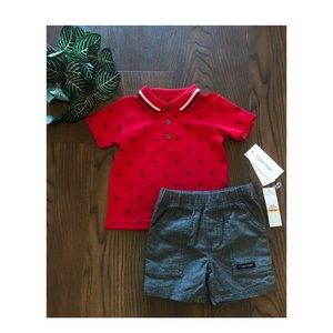 CALVIN KLEIN BABY SHORTS OUTFIT SIZE 9 MONTHS